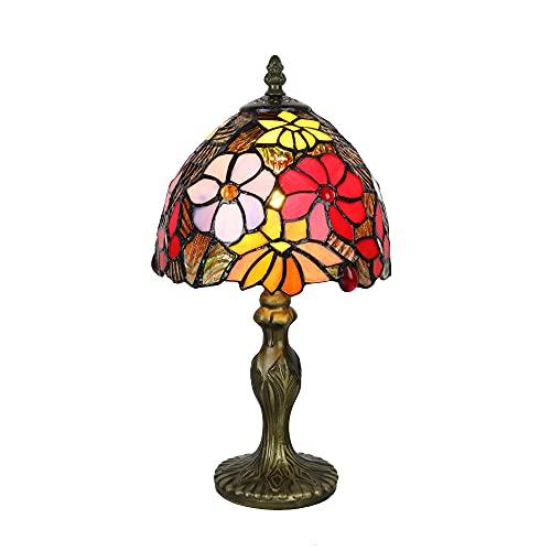 Tokira Lámpara de mesa para Tiffany Lounge, Hermosa Lámpara de Mesa con Vitrales de Estilo Pastoral de 8 Pulgadas, Estudio/Sala de Estar Minimalista para Niños Luz de Noche, Bombilla LED Gratis