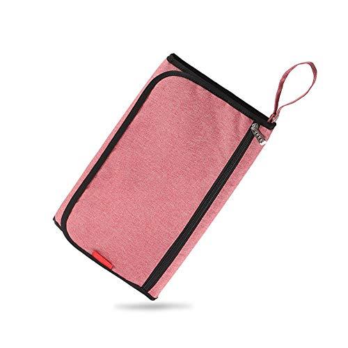 Colchoneta portátil para cambiar pañales, colchoneta para cambiar pañales para bebés, recién nacidos y niños pequeños, viajes a casa al aire libre,90 * 59cm Pink