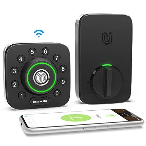 All-New ULTRALOQ U-Bolt Pro WiFi Smart Lock with Door Sensor, 6-in-1 Keyless Entry Door Lock with Built-in WiFi, Bluetooth, Biometric Fingerprint and Keypad, Smart Door Lock Front Door, Deadbolt Lock