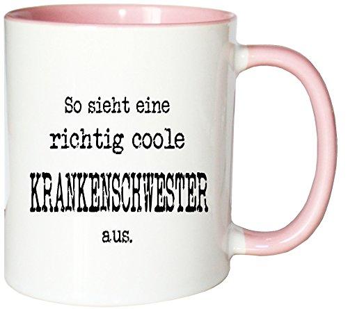 Mister Merchandise Kaffeetasse So Sieht eine richtig Coole Krankenschwester aus. Teetasse Becher, Farbe: Weiß-Rosa