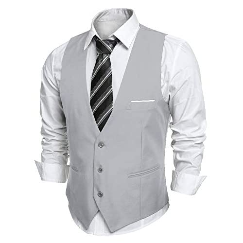 JINIDU Men's Slim Fit Wedding Waistcoat Casual Regular Fit Business Suit Vests