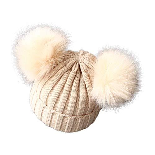 berretto 2 pon pon Berretto Bambino Bambina Autunnale Invernale Cappello Caldo Morbido con Pompon Lavorato a Maglia per Bimbi 1-3 Anni (Beige