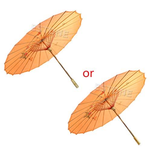 ZZALLL Umbrella Art Deco Parasol Pintado para Boda, Baile, Fiesta - Naranja #