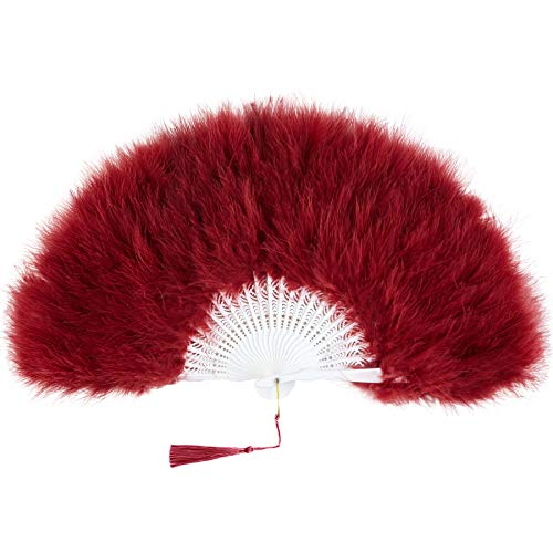 BABEYOND Roaring 20s Vintage Style Folding Handheld Flapper Marabou Feather Hand Fan for Costume Halloween Dancing Party Tea Party Variety Show (Wine Red)