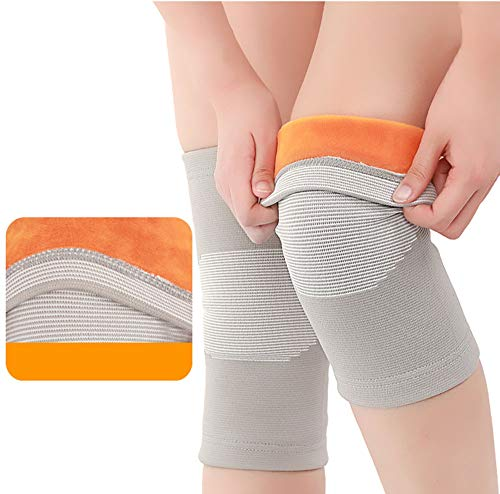 YBZS Gel-Knieschützer, Baumwollgarn Hohe Elastische Faser + Super-Soft Gold Velvet Warm Stoff Knieschützer, Arthritis Knie Massage (Gray)
