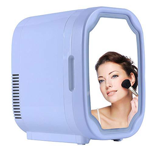 Maquillaje Nevera con Espejo LED, El Coche De Refrigerador, Mini Refrigerador del Refrigerador/For Cosméticos para Maquillaje Y Cuidado La Piel, Casa Bar