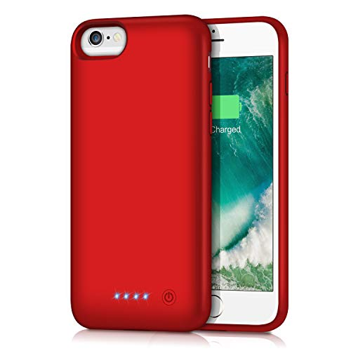 Battery Case for iPhone 6/6s/7/8, [Upgraded 6000mAh] Ekrist Portable Ultra-Slim Protective Charging Case, Extended Rechargeable Smart Battery Pack, Backup Charger Case Power Bank Cover (Red)