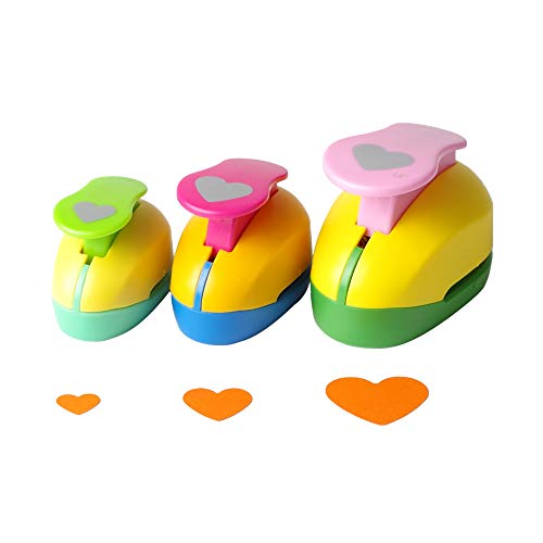 Heart Punch 3/8 inch+5/8 inch+1 inch Craft Lever Punch Handmade Paper Punch for Crafting Scrapbooking,DIY Card Making Candy Colour by Random