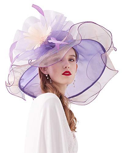 Z&X Women's Kentucky Derby Fascinator Church Hat Wide Brim Big Flower Organza Sun Hat Bridal Wedding Tea Party Hat Purple