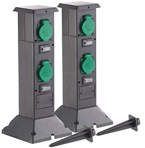 Royal Gardineer Stromverteiler: 2er-Set 4-fach-Steckdosen-Säulen für den Garten, IP44 (Aussensteckdose Garten)