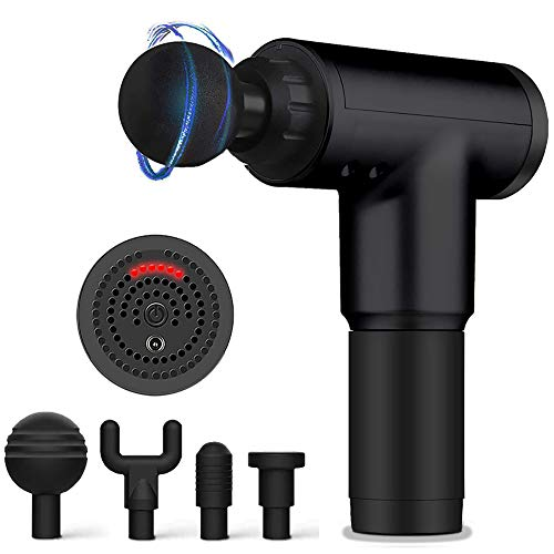 Deep Tissue Massage Gun with 6 Adjustable Speed 4 Detachable Massage Head ,Cordless Handheld Deep Tissue Percussion for Deep Relaxation, Chargeable Percussion Device Quiet for Neck Back Muscle (Black)