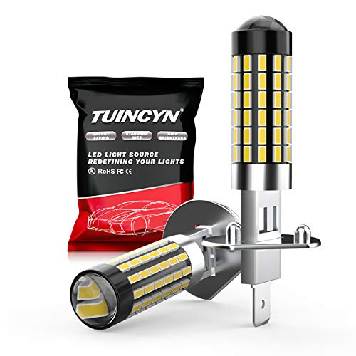 TUINCYN H1 LED Fog Light Bulb 3014 78SMD Lens Super Bright 6500K 900 Lumens DRL Daytime Driving Lamp Car LED Light Bulb with Projector, Plug and Play Bulb DC 12V-24V, 4W, White(Pack of 2)