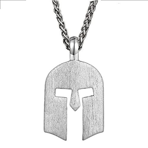 AQzxdc Collar de Plata Esterlina con Casco Espartano para Hombre, Colgante de Gladiador con Máscara de Grecia, Casco Antiguo de Combate Romano Nórdico, Steel Chain