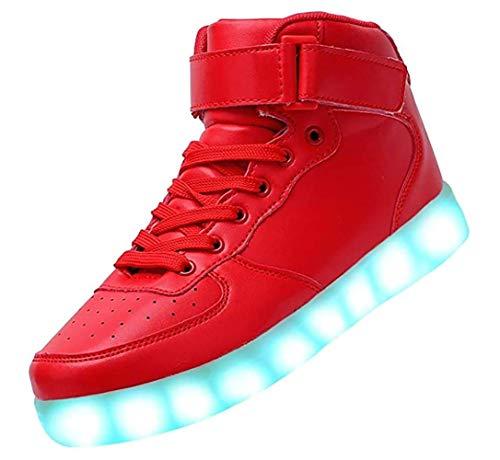 Bling-Bling LED Schuhe - High-Top Sport Sneakers mit in Sieben leuchtender Sohle - Unisex Turnschuh mit USB Anschluss zum Aufladen für Erwachsene - Rot - Gr. 40