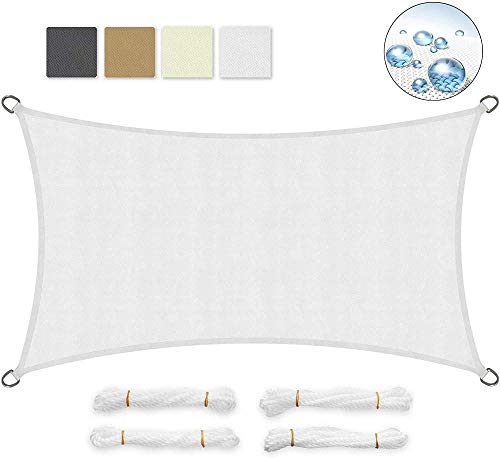 Shade Geling Rectangular Shade Velas Sombreado Material de la Lona 90% Impermeable y Resistente Protector Solar Anti UV para jardín White Terrace 5 × 5m-Los 3 × 5m_Blanco_ 0723