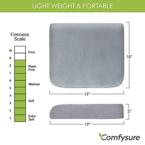 """COMFYSURE Extra Large Firm Seat Cushion Pad for Bariatric Overweight Users - Firm Memory Foam Chair Support Pillow for Wheelchair, Office & Car 19""""x18""""x3 (Grey)"""