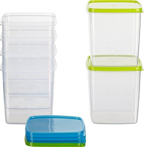 Kigima Frischhaltedose Gefrierbehälter 1l quadratisch 11x11x11,5 cm 6er Set blau und grün