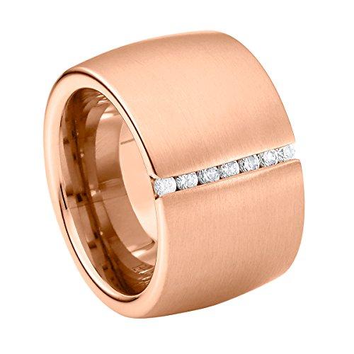 Heideman Ring Damen Lines aus Edelstahl Rosegold farbend matt Damenring für Frauen mit Swarovski Stein Zirkonia Weiss im Brillant Schliff 1,5mm