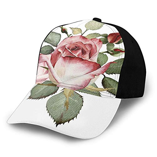 Fashion Flower Decor Shabby Chic Romantic Decor with A Big Roses and Leaves Buds Hand Color Image Pink and Red Plain Adjustable Baseball Cap Unisex Hat Sun Cap