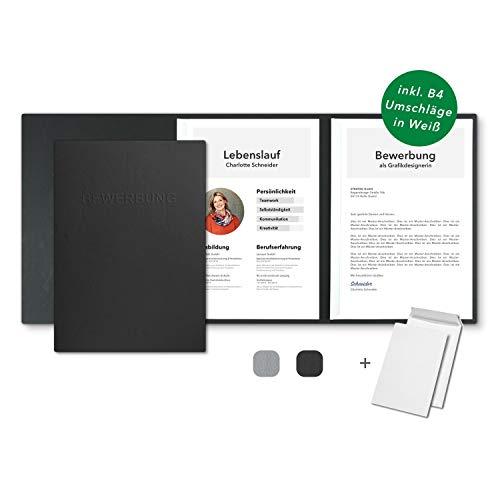 5 Stück 3-teilige Bewerbungsmappen Schwarz in feinster Lederstruktur - inkl. 5 Versandumschläge in Weiß - mit 2 Klemmschienen und hochwertiger Prägung ''BEWERBUNG'' - direkt vom Hersteller STRATAG
