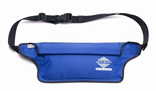 Aqua Quest 100% Waterproof AquaRoo Money Belt - Comfortable & Ultra-Light Waist Bag Travel Pouch - Durable & Easy to Conceal Dry Bag Fanny Pack - Blue
