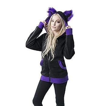 Pawstar Mew Kitty Cat Eared Hoodie Jacket - XL Purple
