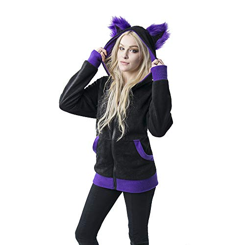 Pawstar Mew Kitty Cat Eared Hoodie Jacket - Large Purple