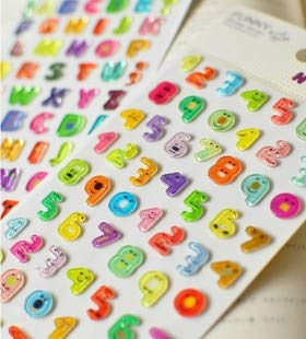 South Korea FUNNY mobile phone Jelly stickers Children Numbers and English Letters Alphabet diary stereo funny Stickers