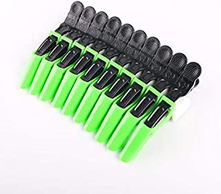 F-BBKO 10pcs Salon Croc Hair Styling Clips-Sectioning Plastic Alligator Hair Clip For Thick Hair-Non-Slip DIY Accessories Hairgrip for Women and Girls(Green 10pcs)