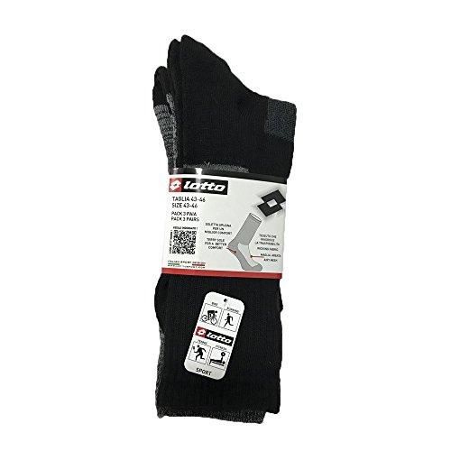 Lotto - Chaussettes de sport - Homme Noir noir 43-46