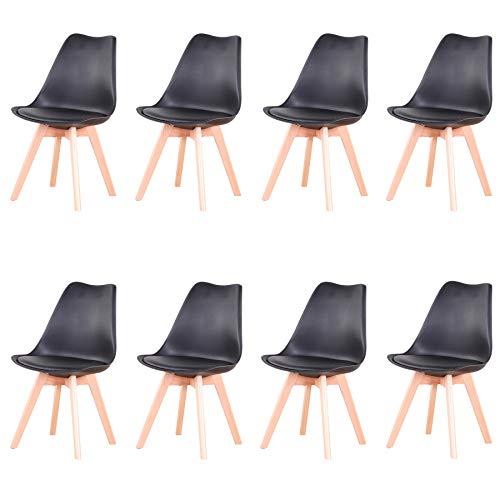 Uderkiny Conjunto de 4/6 sillas Sillas de Comedor con Cojines y Patas de Haya aptas para Comedor salón Cocina Oficina, etc (Pack 8, Nergo)