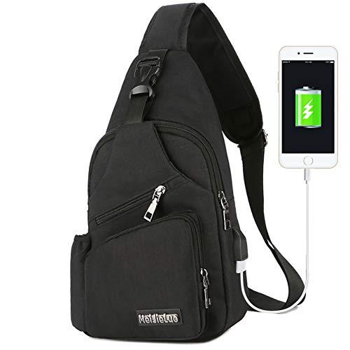 Peicees Travel Bike Gym Sling Bag iPad Chest Daypack w/Bottle Holder&USB Charge
