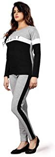 Shocknshop Grey And Black Letter Print Colorblock Tape Top And Leggings Pants Tracksuit Set for Womens (LEG97)