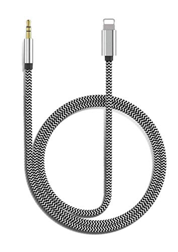 esbeecables Aux Cord for iPhone Apple MFi Certified Lightning to 3.5mm Nylon Braided Audio Stereo Cable for iPhone 12 11 XS XR X 8 7 6 iPad iPod to Car Home Stereo Speaker Headphone 3.3FT Silver