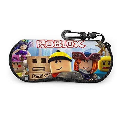 Roblox Funda para gafas de sol de neopreno con cremallera suave, bolsa protectora para gafas de sol, con clip para hombres y mujeres