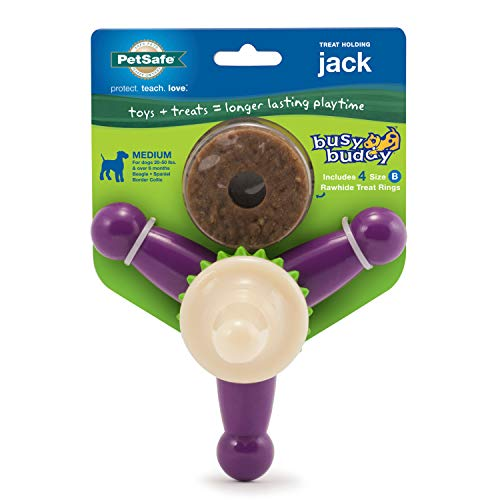 petsafe chew toys for dogs PetSafe Busy Buddy Jack Dog Challenging – Tough Chewers – Treat Rings Included – Small, Medium, Large