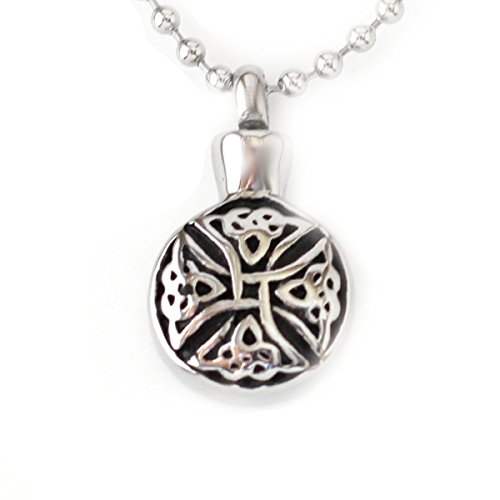 Lauren Annabelle Studio Cremation Jewelry for Ashes Birgit's Knot Celtic Knot Necklaces Stainless Pendant Men Women Dad Mom Bro