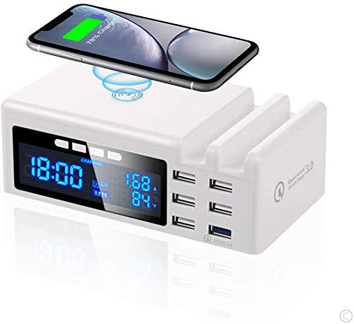 Estación de carga 6 puerto USB con reloj,Carga inalámbrica 48W,Pantalla LCD del cargador Qi,Adecuado para múltiples dispositivos,Protección segura y contra sobrecalentamiento sin reloj despertador