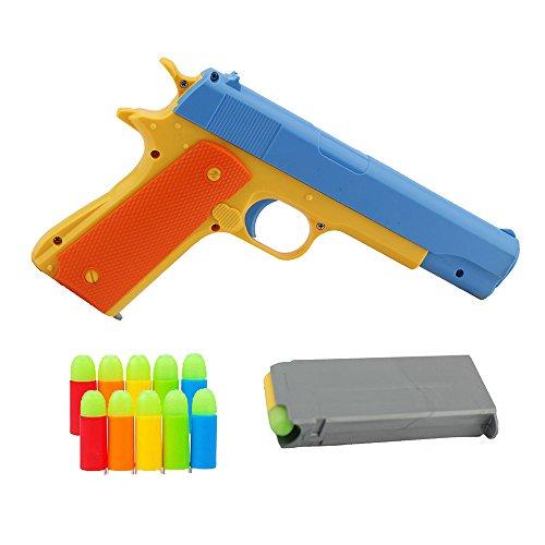 Teanfa 1Pcs Toy Gun Realistic 1:1 Scale Colt 1911 Rubber Bullet Pistol