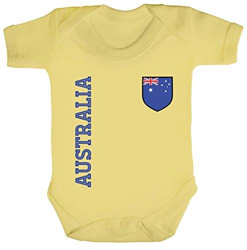 Australien Fußball WM Fanshirt Gruppen Strampler Bio Baumwoll Baby Body kurzarm Jungen Mädchen Fan Trikot Australia, Größe: 12-18 Monate,Soft Yellow