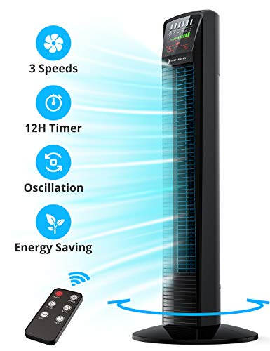 TaoTronics TT-TF001 Oscillating Powerful Tower Fan with Remote Large & LED Display, 9 Modes, Easy Clean, Up to12H Timer, Portable for the Whole Room Home Office, 35 Inches, Black