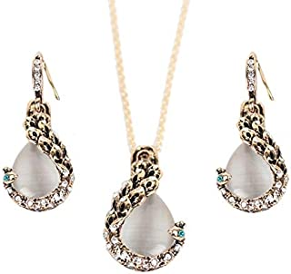 Explosion Models European And American Fashion Accessories Openwork Vintage Ancient Silver Owl Pendant Necklace Earrings Set