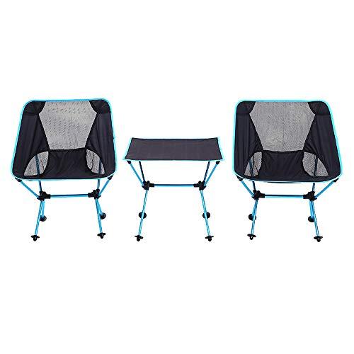 MIMI KING Klapptisch und Stuhl Set Portable Outdoor Camping Aluminium Grill Mehrzweck-Klapptisch 3 Stück