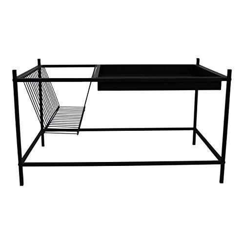 Housevitamin bijzettafel/salontafel - met tijdschriftenrek - zwart metaal