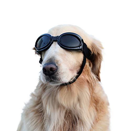 Vivi Bear Haustier-Sonnenbrille Falten Haustierschutzbrille UV-Schutzbrille Fashion Cool Pet Dog Brille mit verstellbarem Gurt und wasserdicht Winddicht für mittelgroße und große Hunde