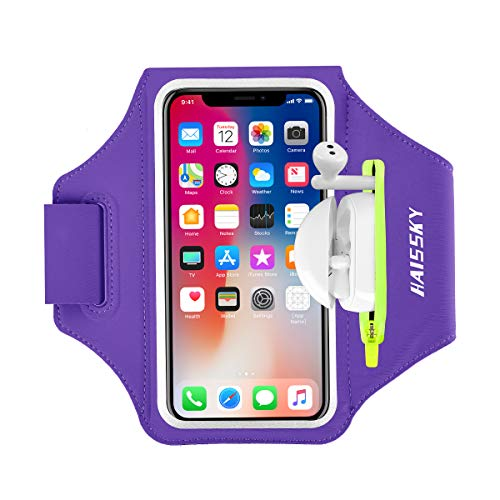 HiRui Running Armband Sleeve Universal Sports Armband Cell Phone Holder Armband for Men Women Kids S, Black Perfect for Running Cycling Travel Workout Enjoy Music Fits All Phones with Case