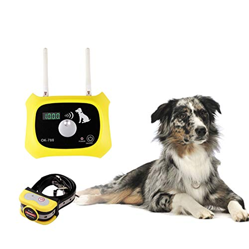 OKPET Wireless Dog Fence Pet Containment System, Wireless Fence Dog Boundary Container, Adjustable 1000 Feet Range, Waterproof Dog Collar Receiver, Harmless for All Dogs (Yellow)
