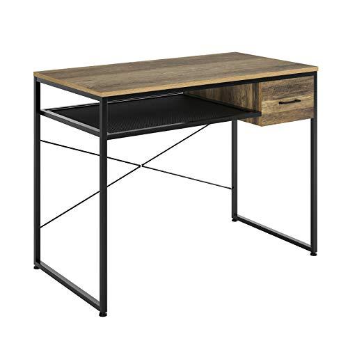 HOMECHO Escritorio Vintage con 1 Cajón Mesa de Escritorio para Estudio Salón Oficina Dormitorio Mesa de Ordenador de Madera y Metal Marrón y Negro 106 x56 x79 cm