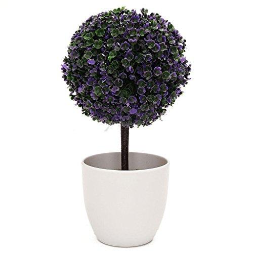 HMILYDYK Artificielle en Pot de Table Décor Fleur Cherry Snow Arbre Boule topiaire Plantes Plante W/Blanc Pot de Fleurs Pots Bureau Décor de Jardin Intérieur/extérieur Décorations, Violet, Purple