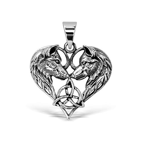 WithLoveSilver 925 Sterling Silver Celtic Heart Love 2 Wolfs Amulet Trinity Triquetra Pendant